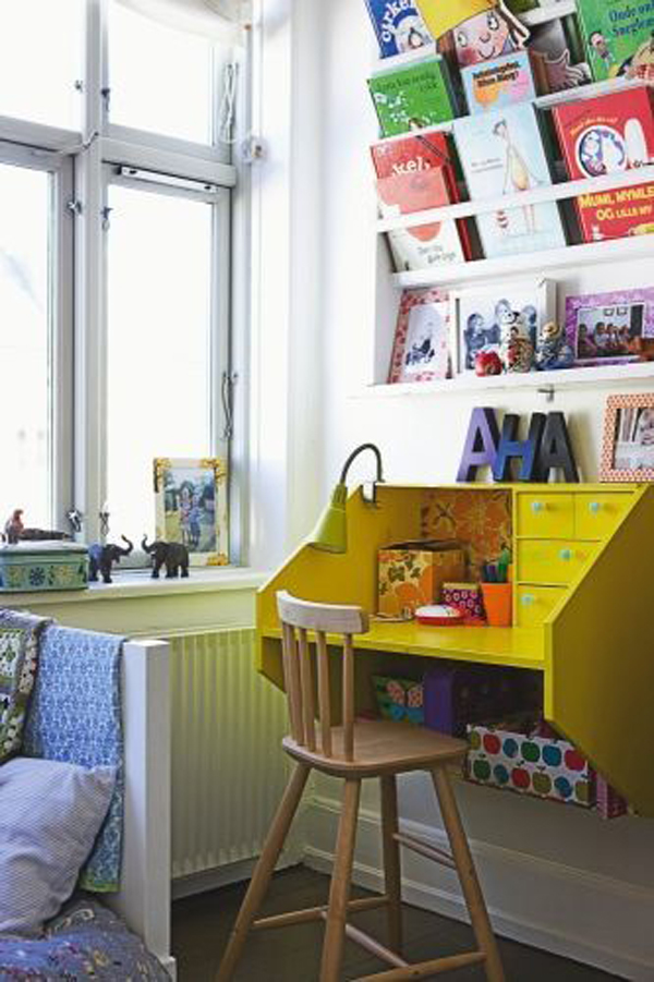 desain meja belajar dengan rak buku