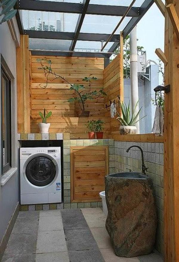 ruang cuci bernuansa kayu