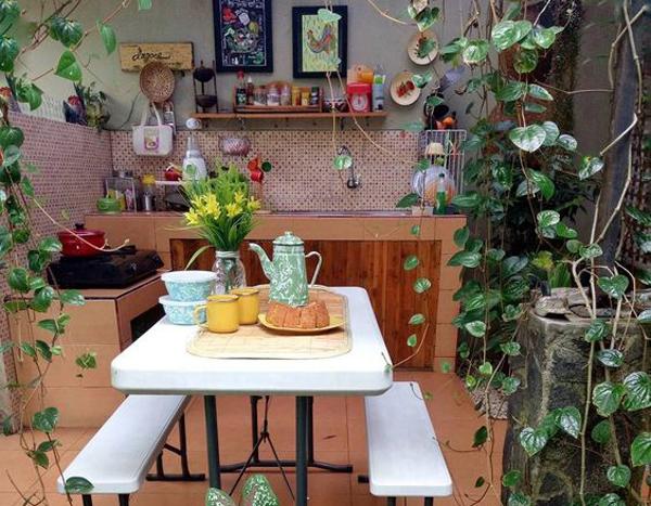 dapur terbuka bernuansa pedesaan