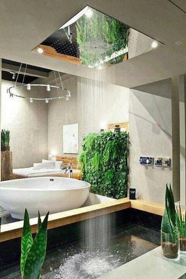 kamar mandi dengan taman vertikal