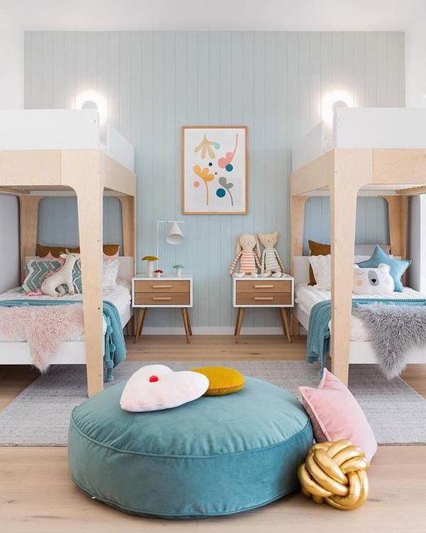kamar-tidur-bersama-moderen-bernuansa-biru
