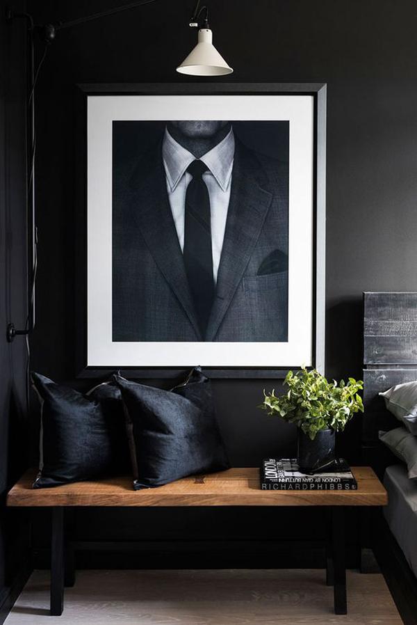 dekorasi-interior-hitam-untuk-kamar-pria