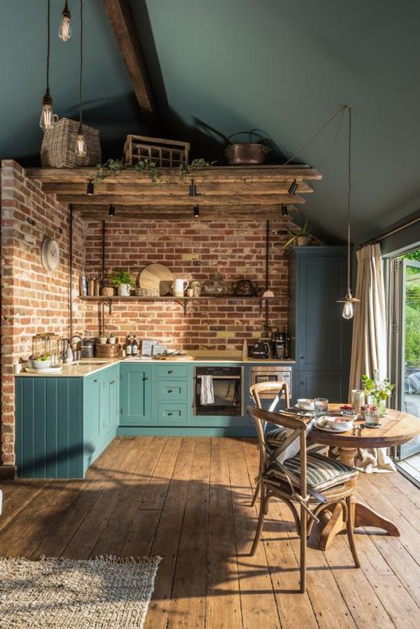 desain-dapur-terbuka-dengan-dinding-bata-dan-lantai-kayu