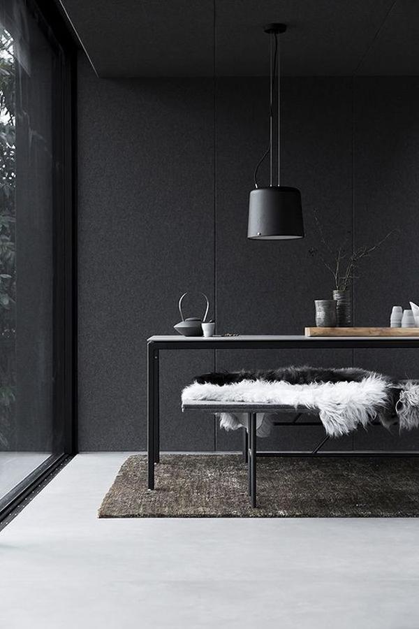 desain-ruang-makan-terbuka-berwarna-hitam