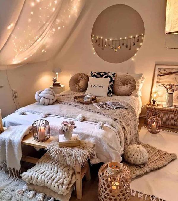 kamar-tidur-boho-dengan-pencahayaan