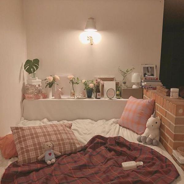 kamar-tidur-cantik-korea-dengan-tema-kotak-kotak