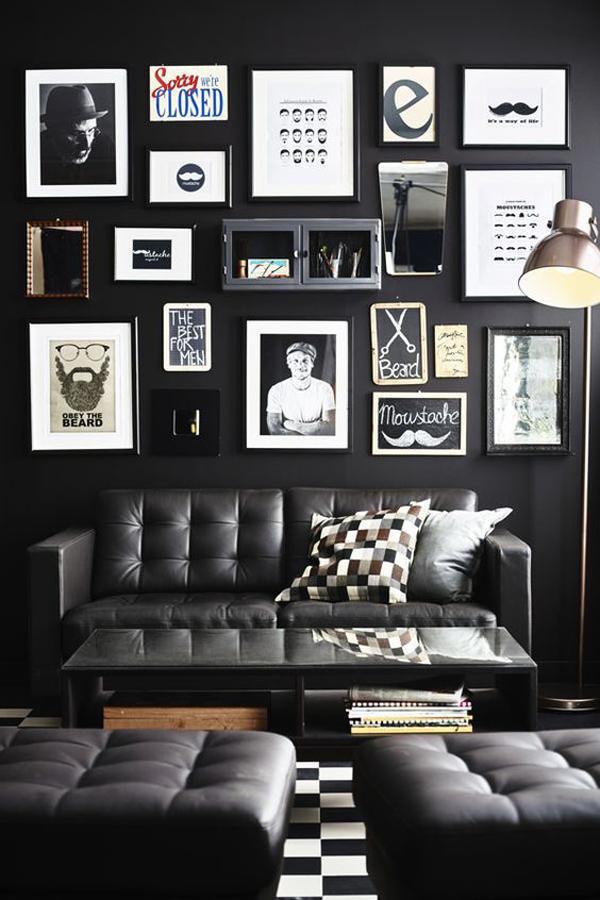 ruang-tamu-hitam-dengan-frame-foto