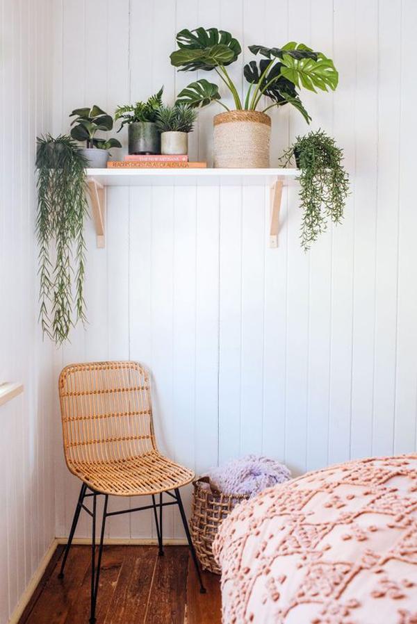 kamar-tidur-dengan-rak-tanaman-kecil-di-sudut