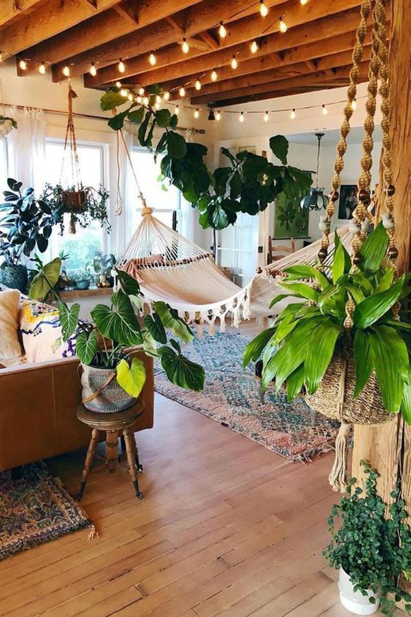 gaya-interior-bohemian-alami-dengan-tempat-tidur-gantung