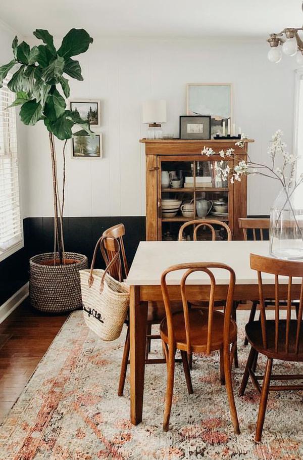 ruang-makan-bergaya-vintage-dengan-karpet-lantai